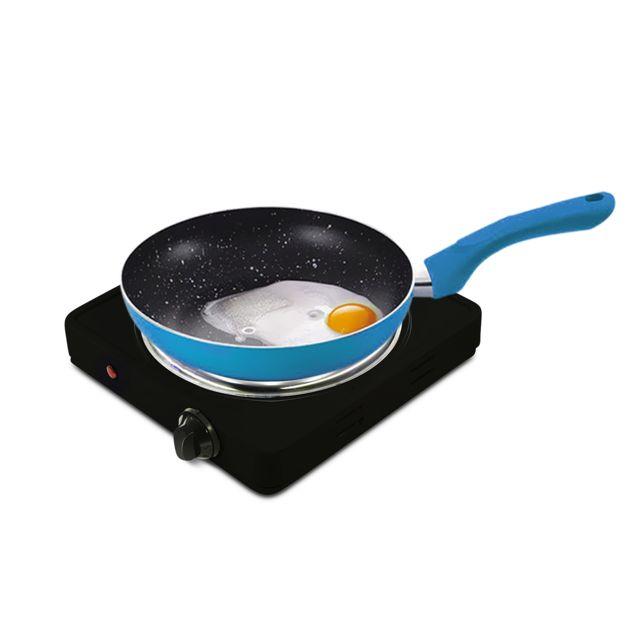 Pem Plaque de cuisson électrique simple 1500W + Set de 3 poêles Bleu