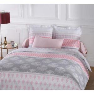 vision housse de couette 240x260 2 taies romane 100 coton 57fils gris rose 260cm x 240cm. Black Bedroom Furniture Sets. Home Design Ideas