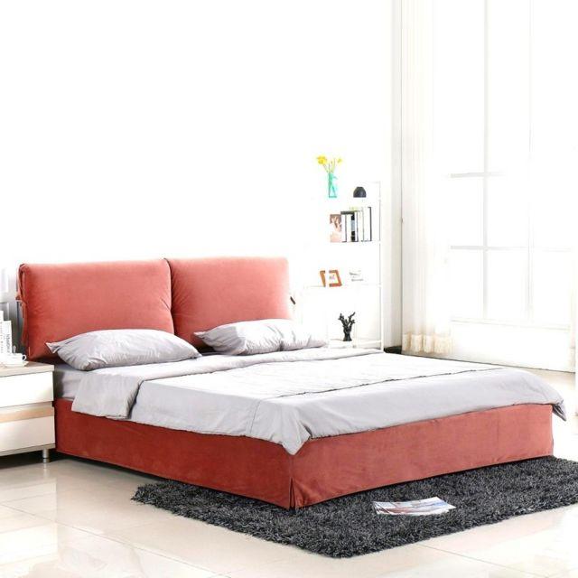 MEUBLER DESIGN Lit design velours Mist - Rose - 160x200