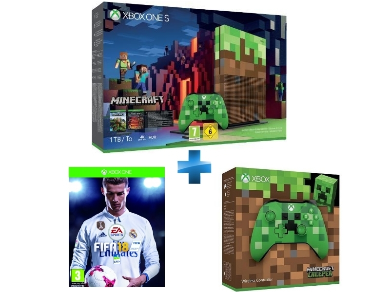 Pack Xbox One S 1To Minecraft Edition Limitée + FIFA 18 - Xbox One + Manette Xbox Edition Minecraft Creeper