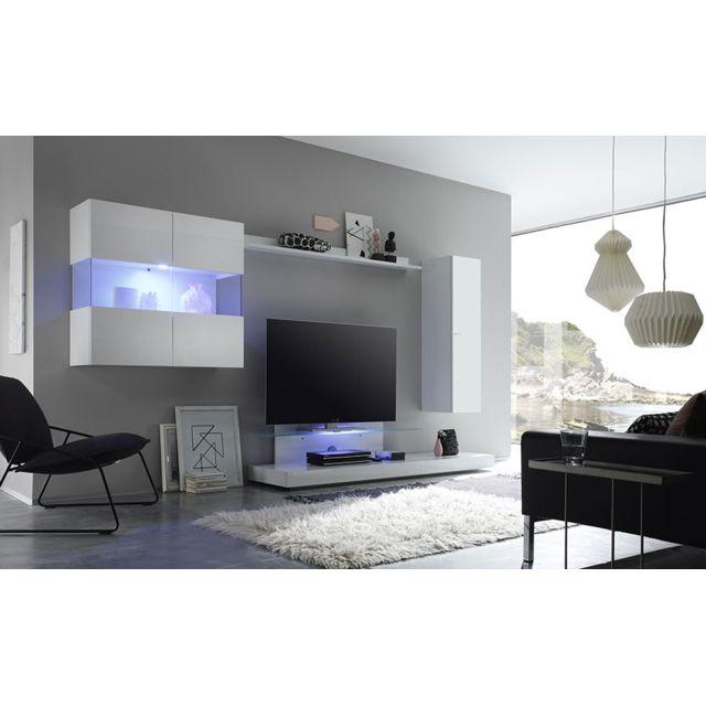 Sofamobili Ensemble meuble Tv laqué blanc avec éclairage Led en option design Boretto