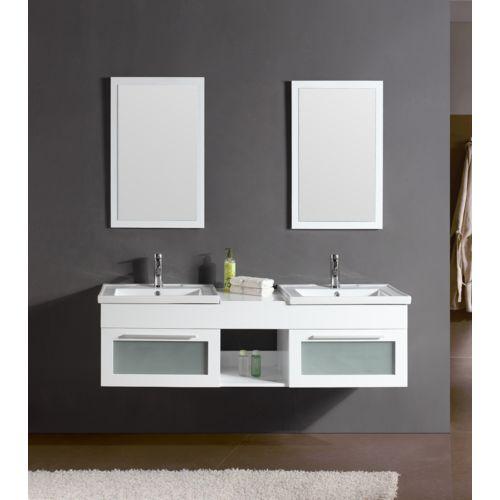 Ensemble Salle De Bain Bahamas Blanc: Meuble, 2 Vasques, 2 Miroirs