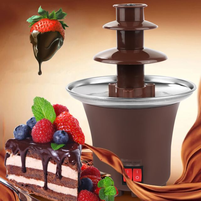 Jeobest Fontaine à chocolat 3 Étage Brun - Eu Plug