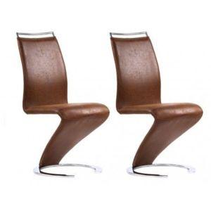 Marque generique lot de 2 chaises twizy microfibre for Chaise cuir salon