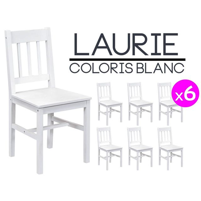altobuy laurie lot de 6 chaises blanches pas cher achat vente chaises rueducommerce. Black Bedroom Furniture Sets. Home Design Ideas