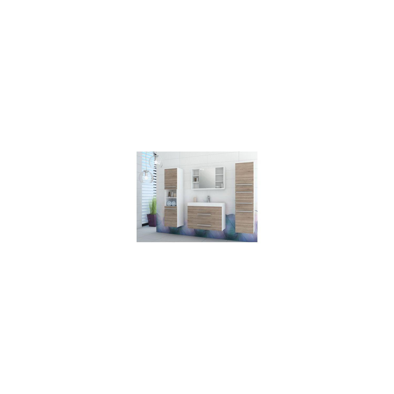 Shower design ensemble marylin meubles de salle de bain beige et blanc pas cher achat - Salle de bain beige et blanc ...