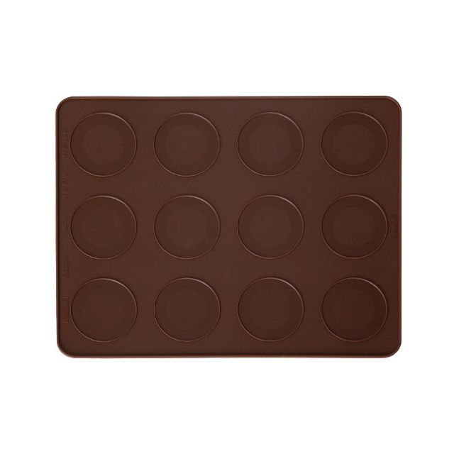 Pavoni Plaque silicone à macarons 12 empreintes