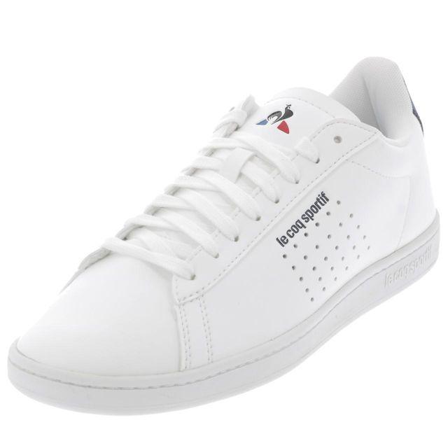00f0f45c24ff Le Coq Sportif - Chaussures basses cuir ou simili Courtset sport blc h  Blanc 40607 - pas cher Achat / Vente Baskets homme - RueDuCommerce