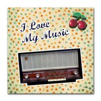 Boniday - Tableau transistor i love my music 30 x 30 cm