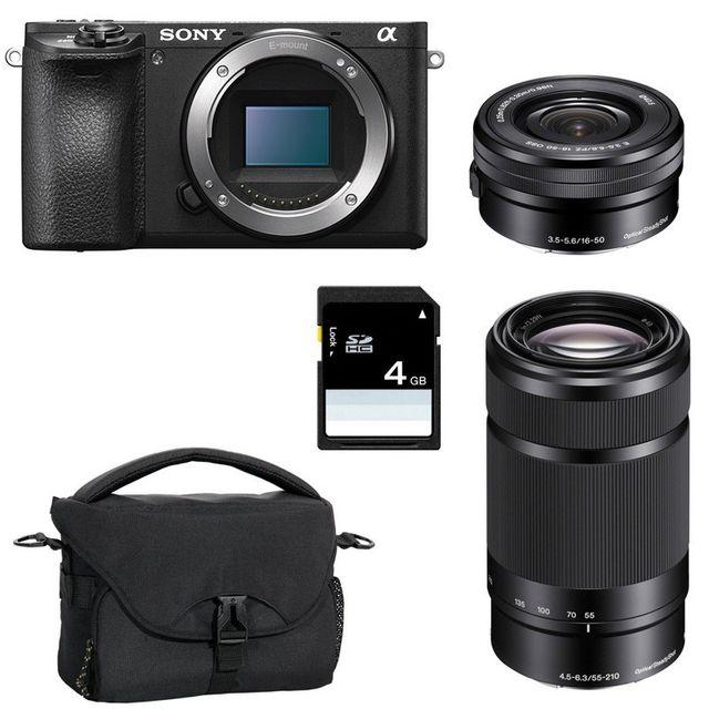 Sony Pack Alpha 6500 Noir + 16-50 + 55-210 + Sd 4 Go + Sac