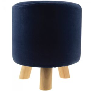Incidence - Pouf Velours Rond - London Colorama - Bleu nuit