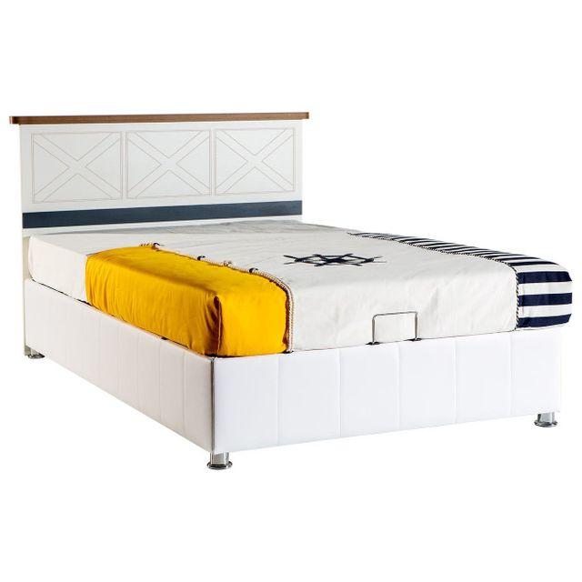 comforium lit coffre coloris blanc 120x200 cm pas cher achat vente structures de lit. Black Bedroom Furniture Sets. Home Design Ideas