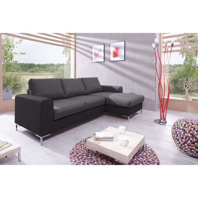bobochic canap lilly angle droit convertible coffre bicolore gris gris anthracite achat. Black Bedroom Furniture Sets. Home Design Ideas