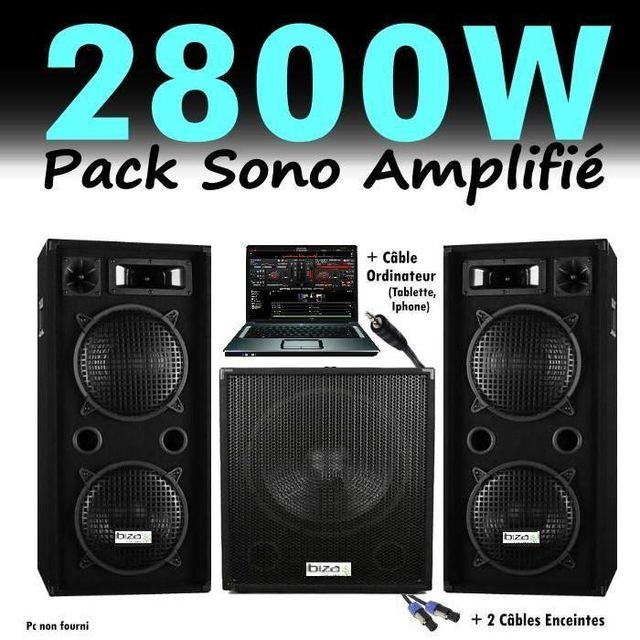Ibiza Sound Pack sono dj 2800w cube 1512 avec caisson amplifiée - encentes - cables hp et pc led pa dj led light sound