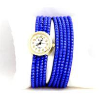 Yilisha - Montre Femme Cuir Bleu Strass 762