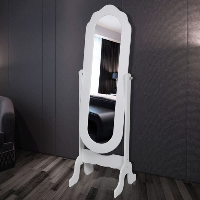 Vidaxl Miroir sur pied réglable Blanc