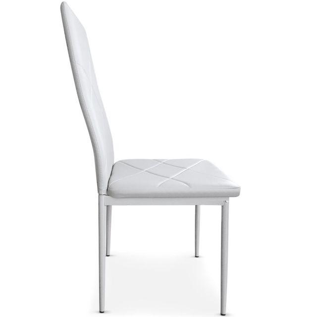 MENZZO Lot de 4 chaises Lotus Blanc