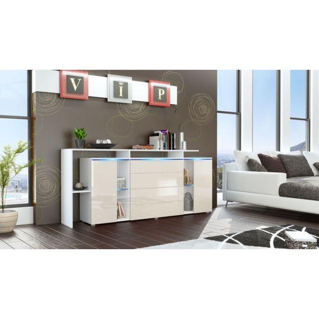 Mpc Buffet design vitré blanc et crème avec led 185 cm