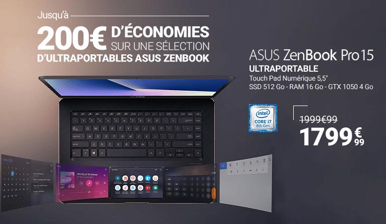 Jusqu'à 200€ d'économies sur une sélection de PC Ultraportables Asus Zenbook