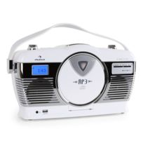 AUNA - RCD-70 Radio vintage UKW USB CD -blanc