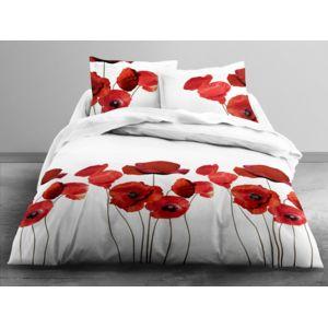 today parure housse de couette taies 100 coton fleur coquelicot aquarellle rouge nature. Black Bedroom Furniture Sets. Home Design Ideas