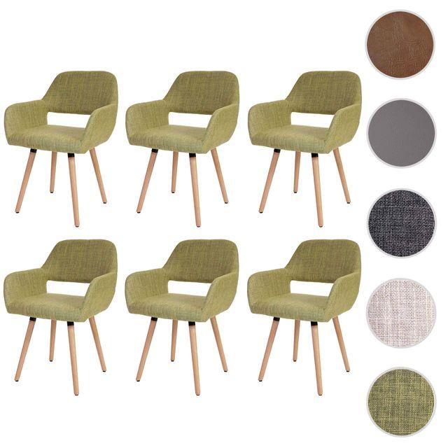 Mendler 6x chaise de salle à manger Altena Ii, fauteuil, design rétro des années 50 ~ tissu, vert clair