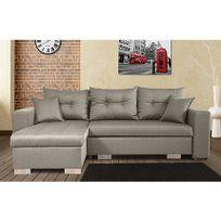 - Canapé d'angle à gauche convertible avec coffre coloris gris clair