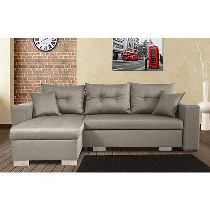 Canapé d'angle à gauche convertible avec coffre coloris gris clair