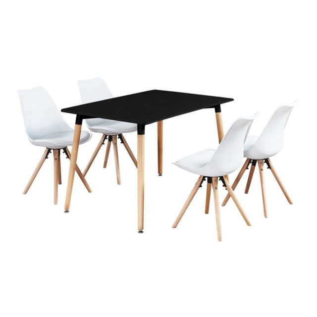 Home Design International Table Noire + 4 Chaises Scandinaves Blanches Sophie Halo