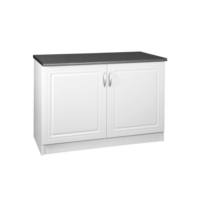 meublesline meuble de cuisine bas 120 cm 2 portes dina blanc avec moulures