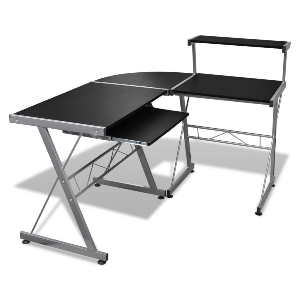 Rocambolesk - Superbe Grande table de bureau noire pour ordinateur Neuf