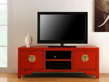 Meuble TV FOSHAN - 4 portes & 2 niches - Bois d\'orme - Rouge