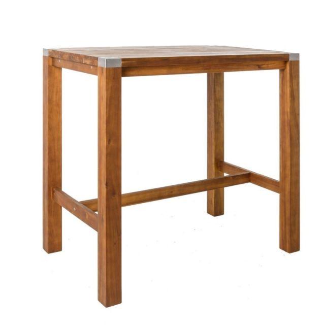 Ma Maison Mes Tendances Table haute de jardin en bois et acier inoxydable Navarra - L 120 x l 75 x H 110
