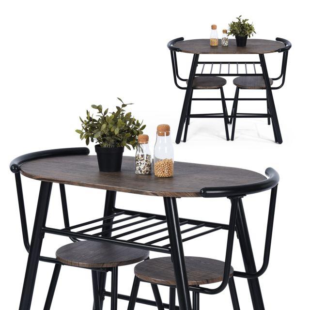métal table manger Ensemble noyer bois à places 2 sQrxtChd