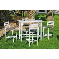 Hevea Jardin - Ensemble table et chaises de jardin galicia 130 blanc + coussins