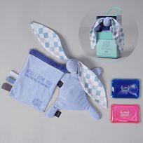 Sevira Kids - Doudou bouillotte compresse gel froid - spécial bébé - 2 en 1 - Sweet Family - Bleu pastel