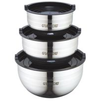 Art-cuisine - Art And Cuisine Set de 3 saladiers avec couvercles 16-20-24 cm noir