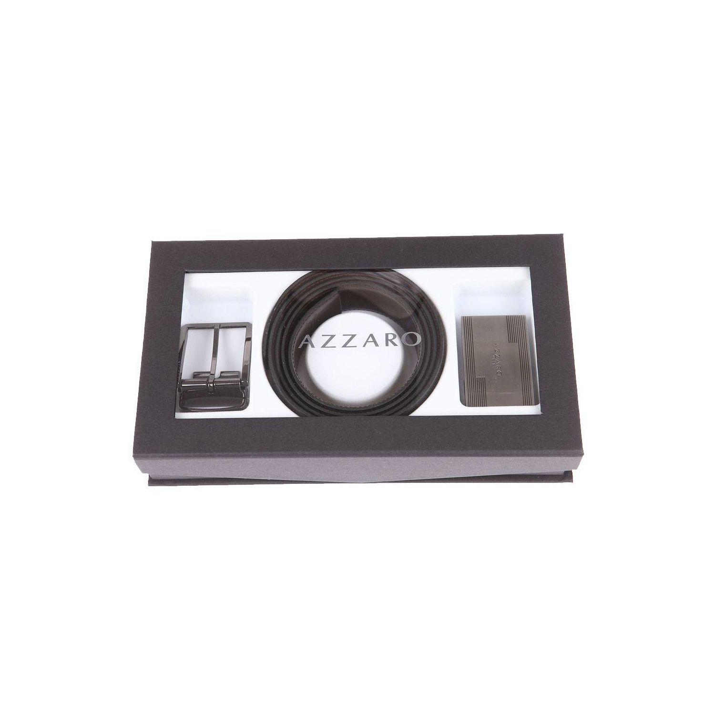 8d520c1223a4 AZZARO- Coffret cadeau Made in France   Ceinture ajustable noire réversible  à boucles rectangulaire chromée
