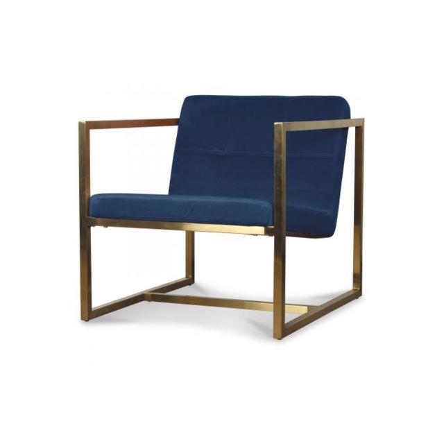 Declikdeco Fauteuil Velours Design Bleu Canard Ravel