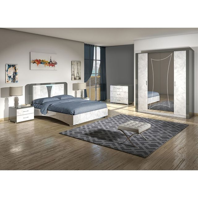 Altobuy Ombeline - Chambre Complète 140x190cm avec Armoire