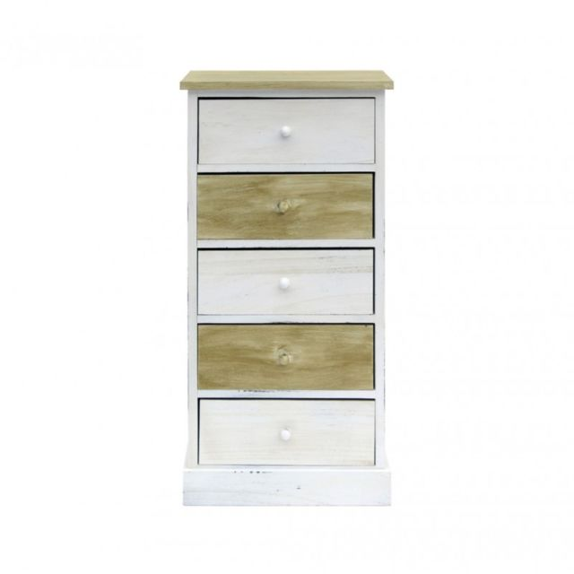 Meuble De Rangement Bois Et Blanc.Commode Meuble De Rangement 5 Tiroirs Bois Clair Blanc Vintage Retro Chambre