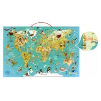 Vilac - Puzzle 78 pièces magnétique en bois : Carte du monde fantastique