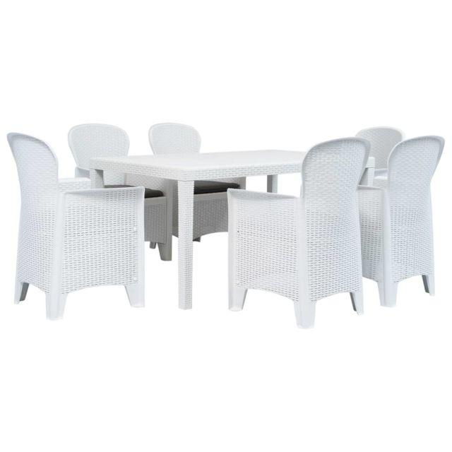 Vidaxl Meuble à dîner d'extérieur 7pcs Plastique Blanc Aspect de rotin