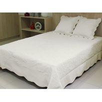 Vent Du Sud - Boutis Byzance Ecru, couvre-lit 100% coton + 2 taies d'oreiller