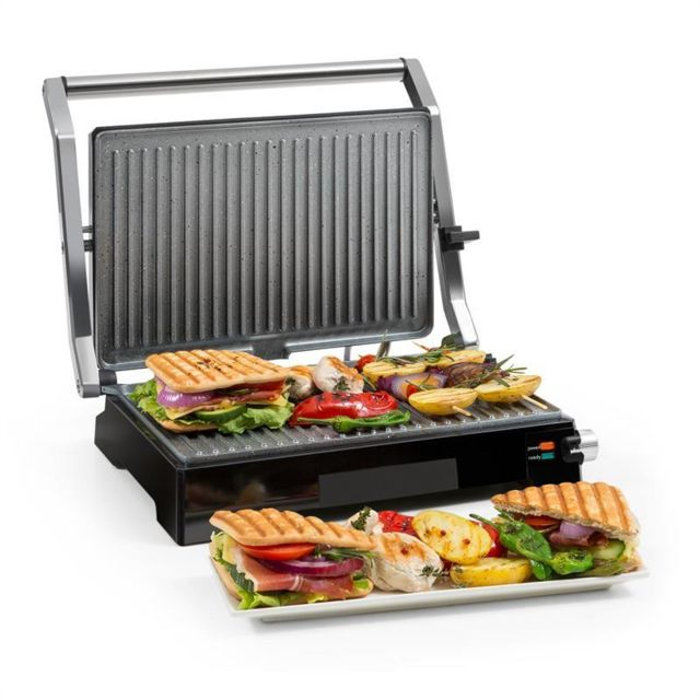 KLARSTEIN Buffalo Grill contact pour panini 2000W- inox argent & noir