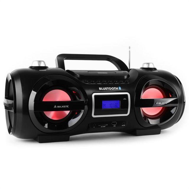 MAJESTIC AH 234BT/MP3/USB Boombox bluetooth CD MP3 USB LED 7 couleurs