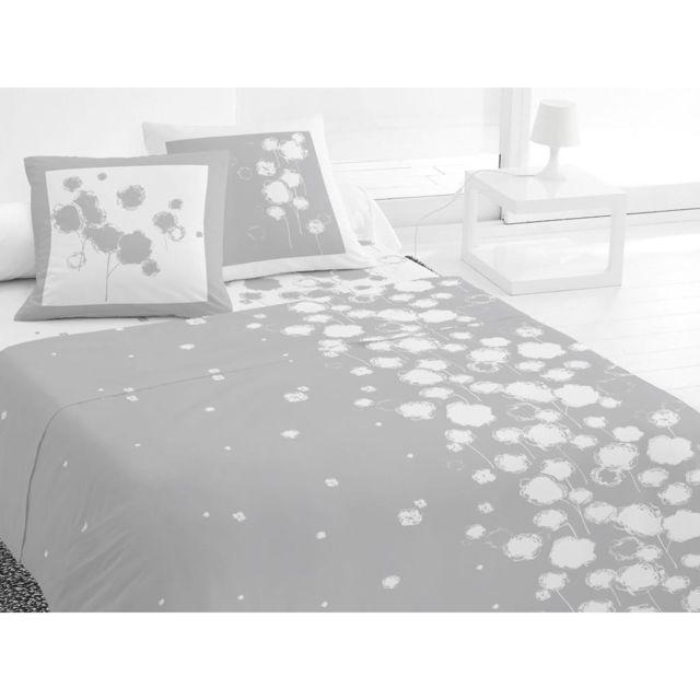 soleil d 39 ocre parure de lit 4 pi ces fleur de coton gris 100 coton blanc gris 290cm x. Black Bedroom Furniture Sets. Home Design Ideas