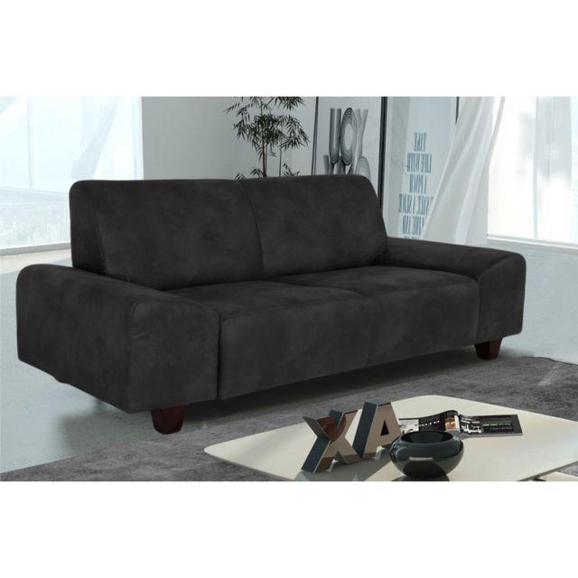 Rocambolesk Canapé Quick 2 Tobago 17 antracite+pieds venge sofa divan