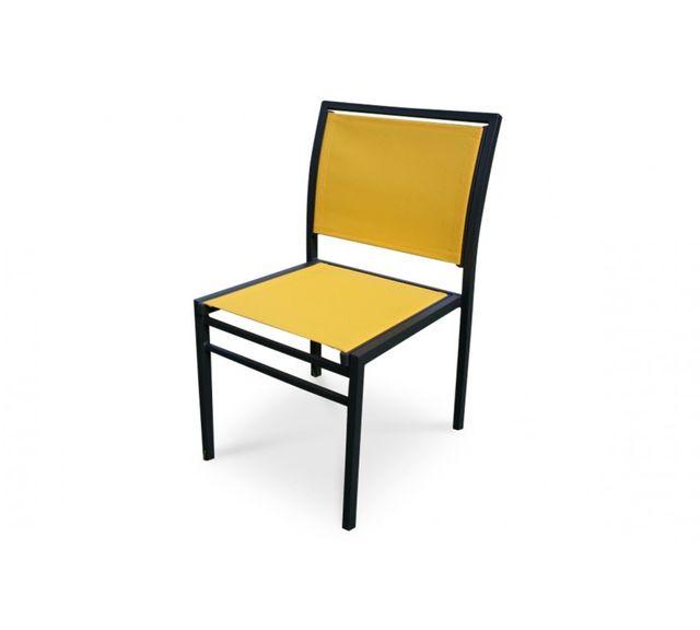DCB GARDEN Chaise aluminium gris anthracite et textilène jaune