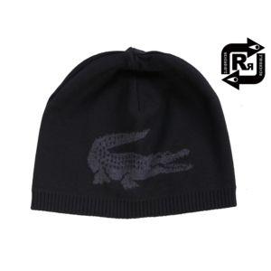 af238f555a Lacoste , Bonnet réversible big croco en laine noir et gris Rb3531 ...